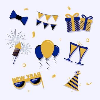 Flaches design neujahrsparty-element-sammlung
