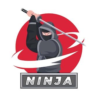 Flaches design ninja-logo-vorlage