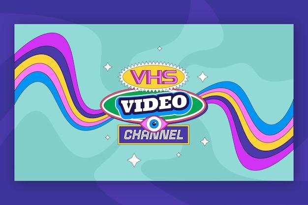 Flaches design, nostalgische 90er jahre youtube-kanalkunst