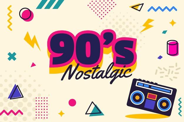 Flaches design, nostalgischer hintergrund der 90er jahre