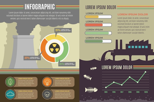 Flaches design ökologie infographik