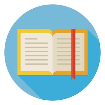 Flaches design offenes buch mit lesezeichen-kreis-symbol mit langem schatten. zurück zu schule und bildung vektor-illustration. flaches buntes buch mit lesezeichen. grammatik literatur. studieren und lernen.