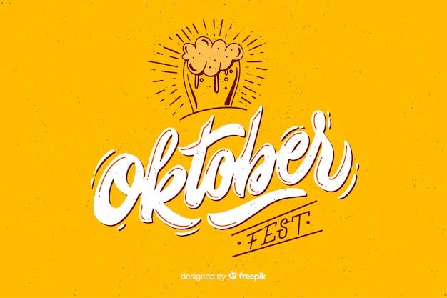 Flaches design oktoberbest mit glas bier