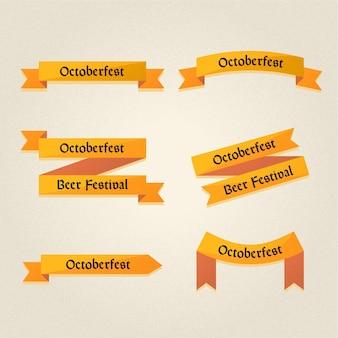 Flaches design oktoberfest bänder gesetzt