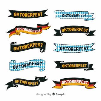 Flaches design oktoberfest bänder sammlung