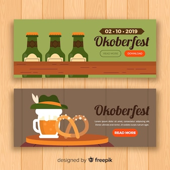 Flaches design oktoberfest banner vorlage
