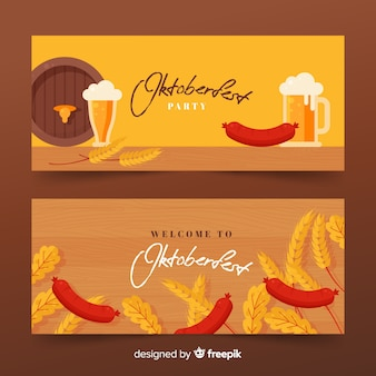 Flaches design oktoberfest banner