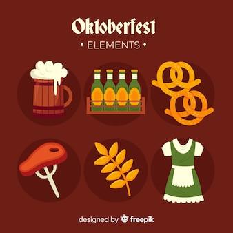 Flaches design oktoberfest elementsammlung