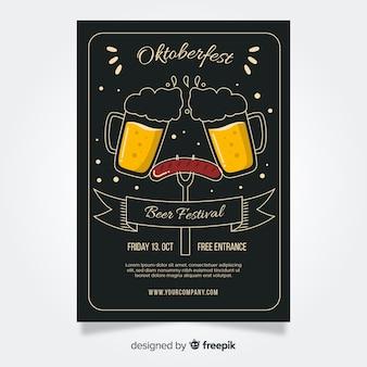 Flaches design oktoberfest flyer vorlagen