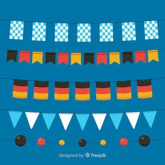 Flaches design oktoberfest girlande sammlung
