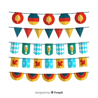 Flaches design oktoberfest girlandenset