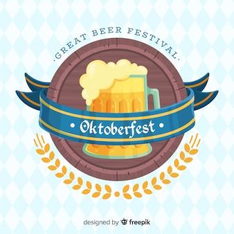 Flaches design oktoberfest hintergrund mit einem bierkrug