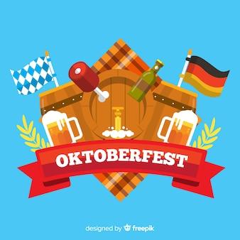 Flaches design oktoberfest hintergrund mit elementen