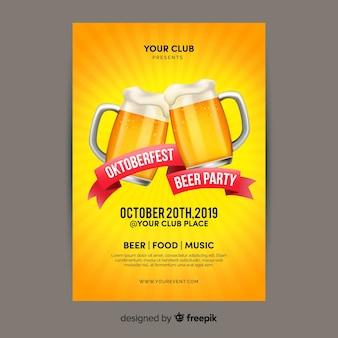 Flaches design oktoberfest mit bier plakat vorlage
