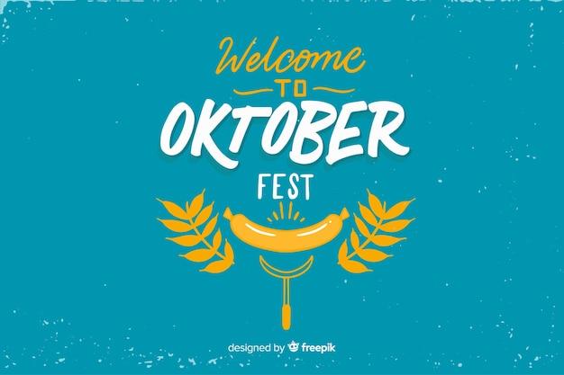 Flaches design oktoberfest mit blättern