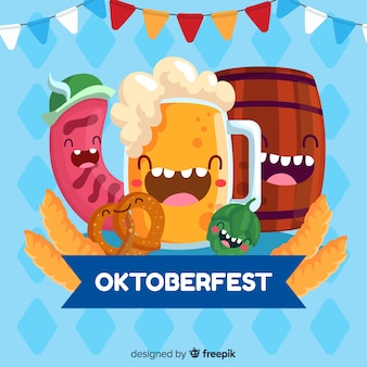 Flaches design oktoberfest mit happy party-elementen