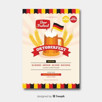 Flaches design oktoberfest plakat templa