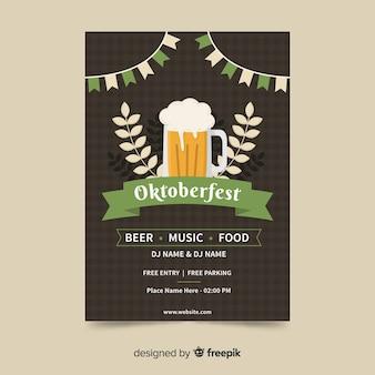 Flaches design oktoberfest plakat vorlage