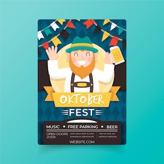 Flaches design oktoberfest poster
