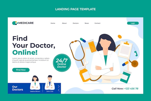 Flaches design online arzt landing page