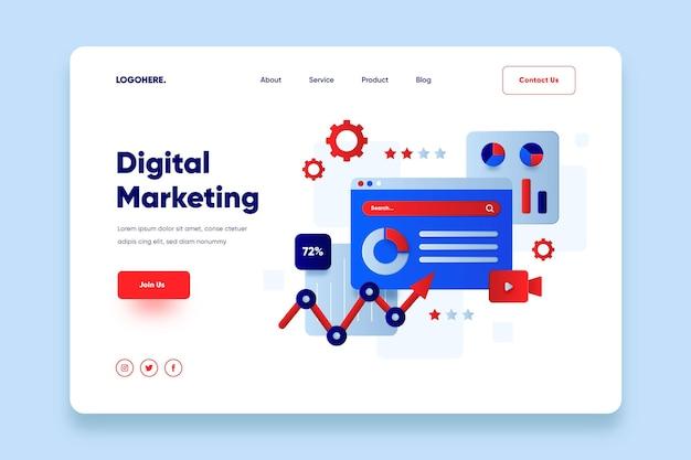 Flaches design online-marketing-landingpage