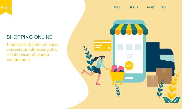 Flaches design online-shop-konzept
