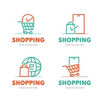 Flaches design online-shop-logo-sammlung