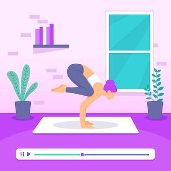 Flaches design online-yoga-klassenkonzept