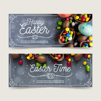 Flaches design ostern tag banner