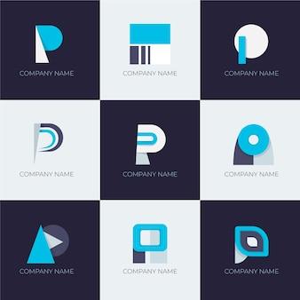 Flaches design p logo-schablonensammlung