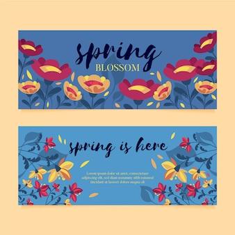 Flaches design pack frühling verkauf banner