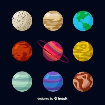 Flaches design planeten gesetzt