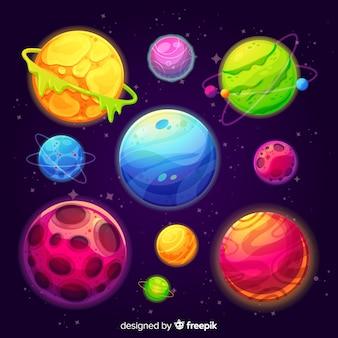 Flaches design planetensammlung