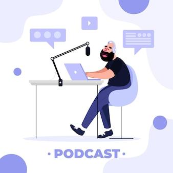 Flaches design-podcast-konzept
