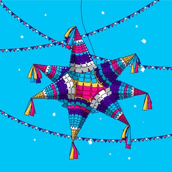Flaches design posada pinata festival mit girlanden