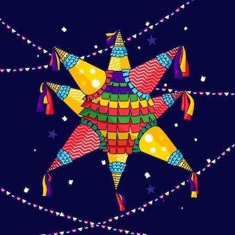 Flaches design posada pinata in der nacht