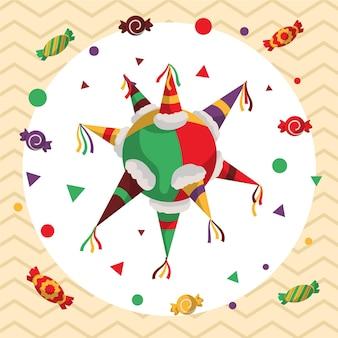 Flaches design posada pinata und süßigkeiten