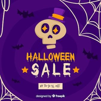 Flaches design purpurroten halloween-verkaufs