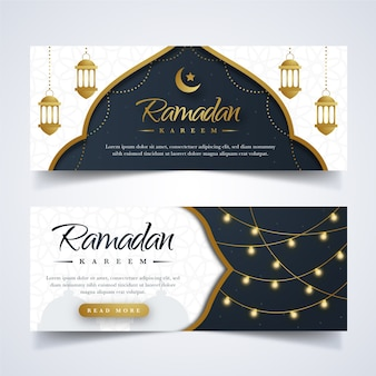 Flaches design ramadan banner set