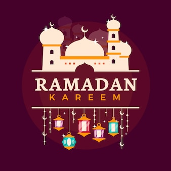 Flaches design ramadan feier thema