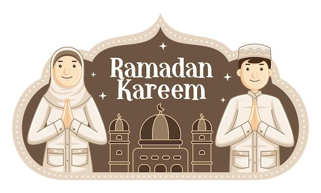 Flaches design ramadan kareen mit lächelnden menschen