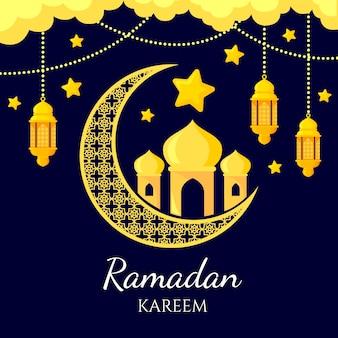 Flaches design ramadan tag konzept