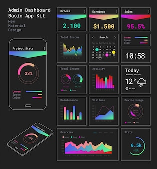 Flaches design reaktionsschnelle admin dashboard ui mobile app