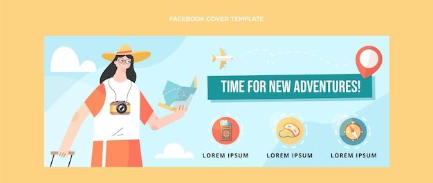 Flaches design-reise-facebook-cover mit reisenden