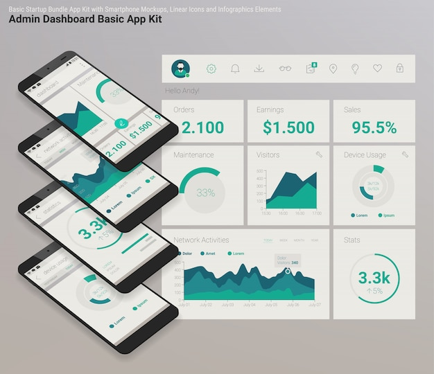 Flaches design, responsive admin dashboard ui, mobile app mit 3d-modellen