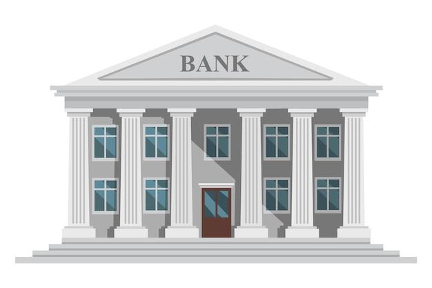 Flaches design retro-bankgebäude mit säulen und fenstern vektor-illustration isoliert auf weißem hintergrund