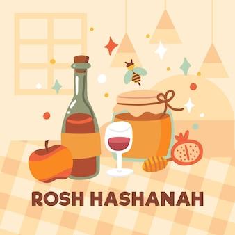 Flaches design rosh hashanah essen auf dem tisch