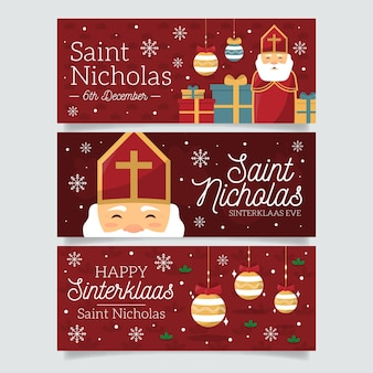 Flaches design saint nicholas day banner set