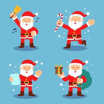Flaches design santa claus charakterpaket