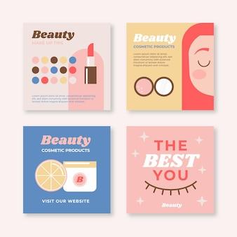 Flaches design schönheit instagram post pack